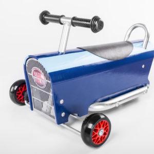Porteur vintage en bois bleu foncé pour bébés et enfants